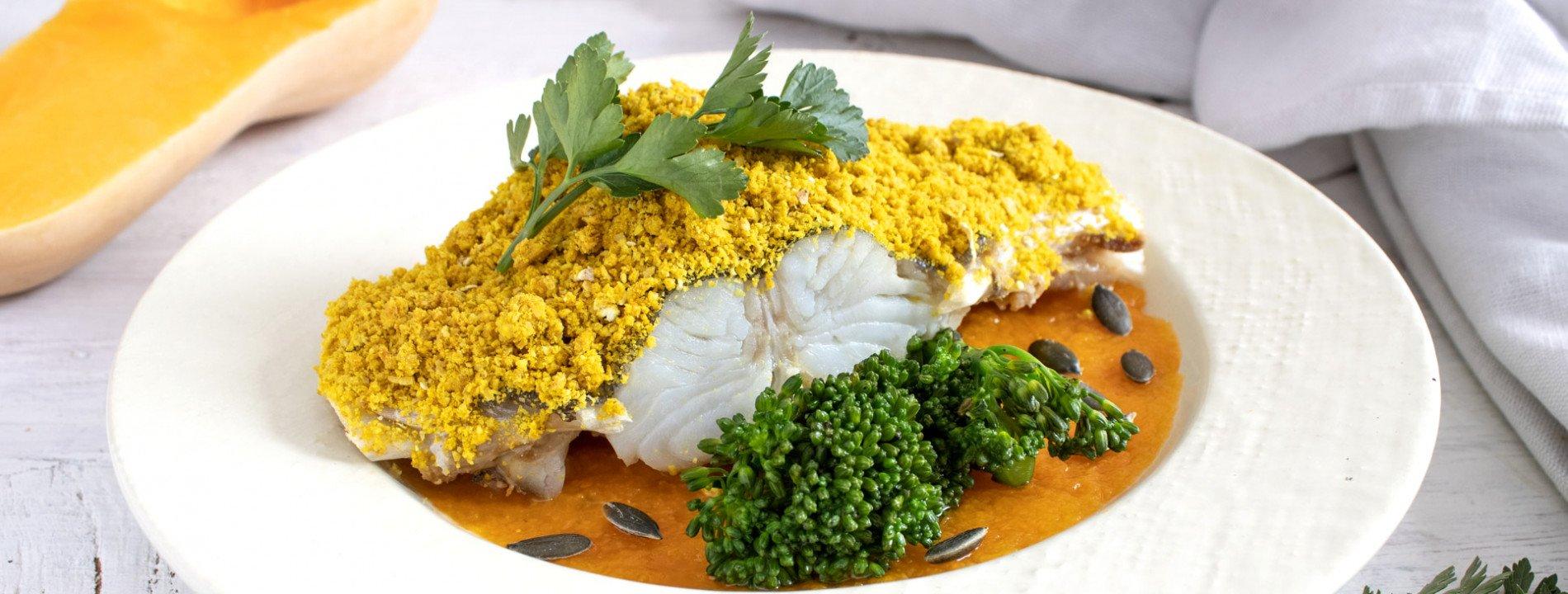 "Cod with ""Broa"" and Pumpkin and Sweet Potato Puree"