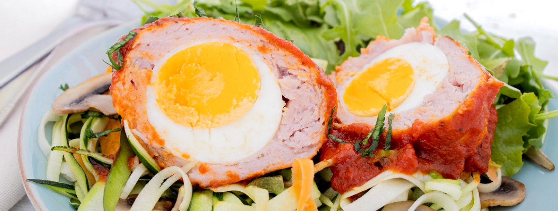 Chicken Meatballs with Egg and Zucchini Linguini