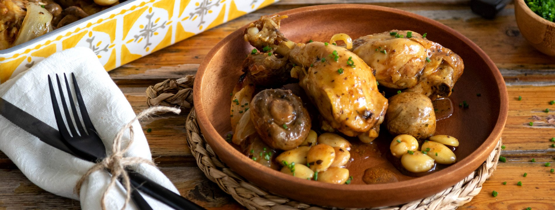 Chicken Legs with Mushrooms and Almonds