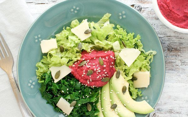 Beetroot, Avocado and Humus Salad
