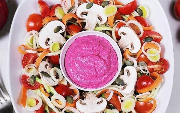 Carrot and Carrot Salad with Beetroot Humus