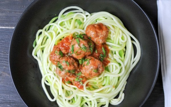 Meatballs with Spices and Zucchini Spaghetti