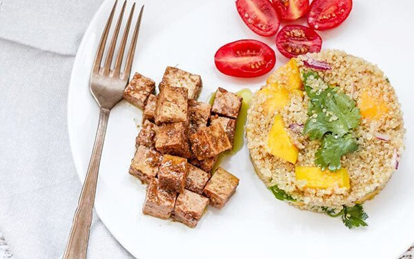 Tofu with Quinoa and Mango Salad