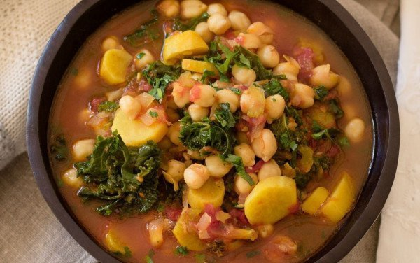 Chickpea Stew, Sweet Potatoes and Kale