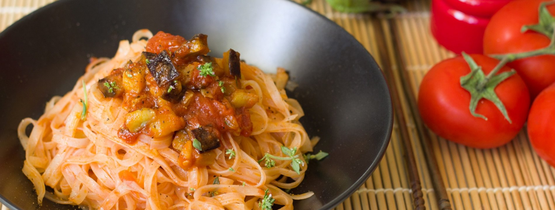 Rice Noodles with Eggplant, Tomato and Thyme