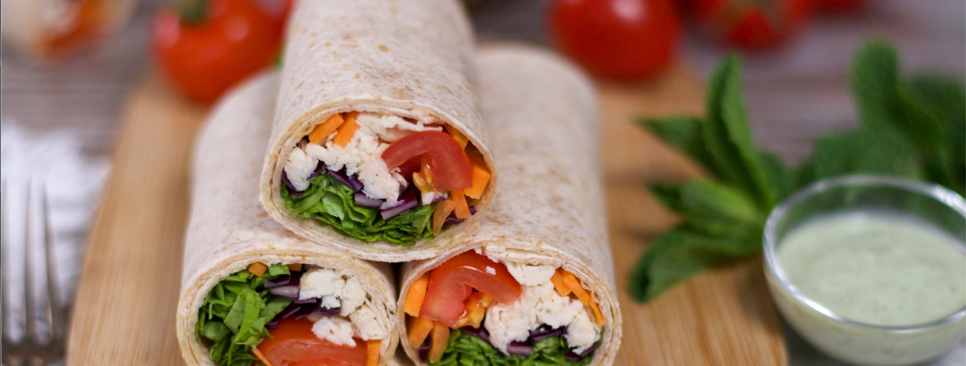 Chicken Wrap with Mint Sauce