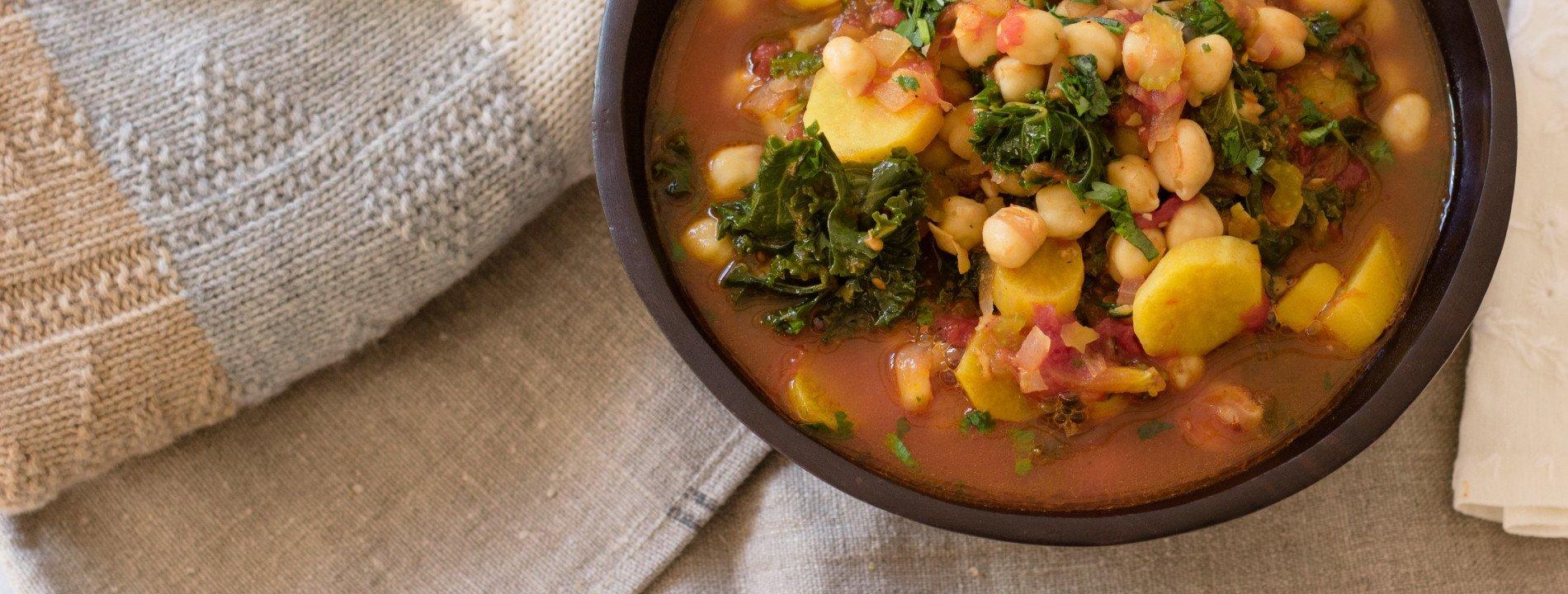 Guisado de Grão-de-Bico, Batata Doce e Kale