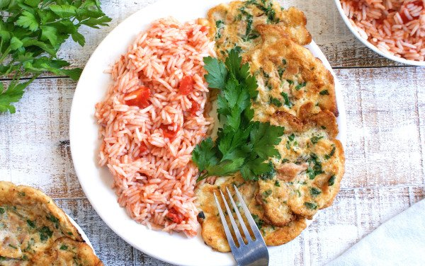 Tuna Pataniscas with Tomato Rice