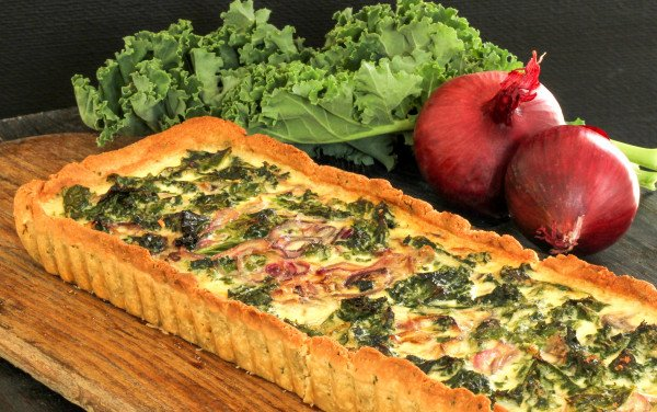 Kale and Red Onion Pie